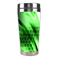 Abstract Background Green Stainless Steel Travel Tumblers
