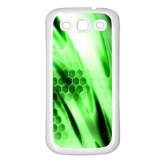 Abstract Background Green Samsung Galaxy S3 Back Case (White)