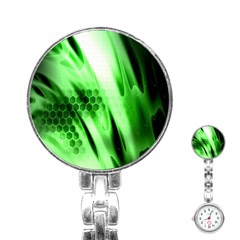 Abstract Background Green Stainless Steel Nurses Watch