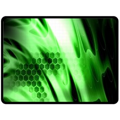 Abstract Background Green Double Sided Fleece Blanket (Large)