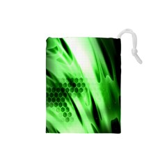Abstract Background Green Drawstring Pouches (Small)