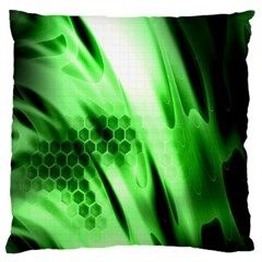 Abstract Background Green Large Flano Cushion Case (One Side)