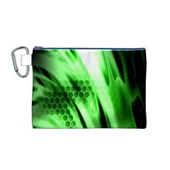 Abstract Background Green Canvas Cosmetic Bag (M)
