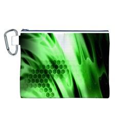Abstract Background Green Canvas Cosmetic Bag (l)