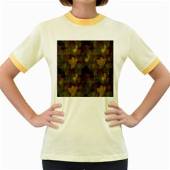 Textured Camo Women s Fitted Ringer T-Shirts