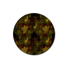 Textured Camo Rubber Round Coaster (4 Pack)
