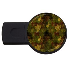 Textured Camo Usb Flash Drive Round (4 Gb)