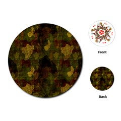 Textured Camo Playing Cards (round)