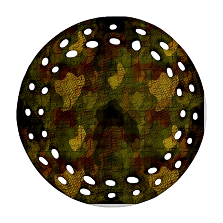 Textured Camo Round Filigree Ornament (Two Sides)
