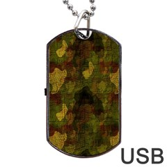 Textured Camo Dog Tag Usb Flash (one Side)