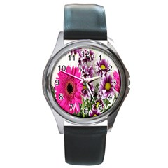Purple White Flower Bouquet Round Metal Watch