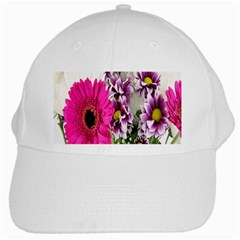 Purple White Flower Bouquet White Cap