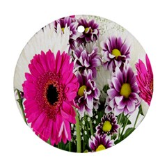 Purple White Flower Bouquet Ornament (round)