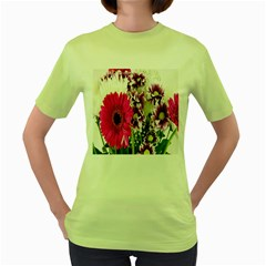 Purple White Flower Bouquet Women s Green T-Shirt