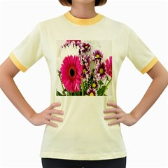 Purple White Flower Bouquet Women s Fitted Ringer T-Shirts