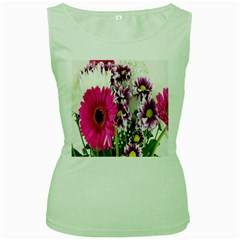 Purple White Flower Bouquet Women s Green Tank Top