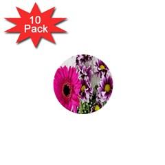 Purple White Flower Bouquet 1  Mini Buttons (10 Pack)
