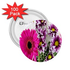 Purple White Flower Bouquet 2 25  Buttons (100 Pack)