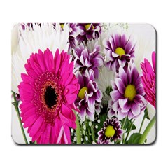 Purple White Flower Bouquet Large Mousepads