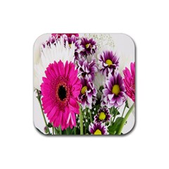 Purple White Flower Bouquet Rubber Coaster (Square)