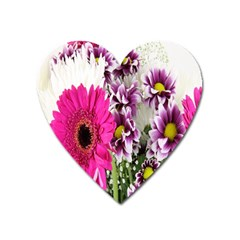 Purple White Flower Bouquet Heart Magnet