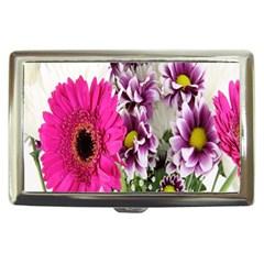 Purple White Flower Bouquet Cigarette Money Cases