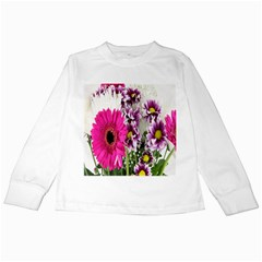 Purple White Flower Bouquet Kids Long Sleeve T Shirts