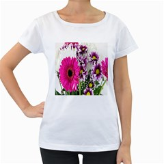 Purple White Flower Bouquet Women s Loose-Fit T-Shirt (White)