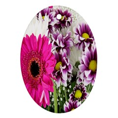 Purple White Flower Bouquet Oval Ornament (Two Sides)