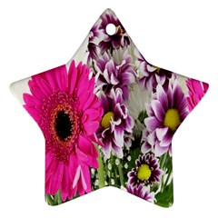 Purple White Flower Bouquet Star Ornament (two Sides)