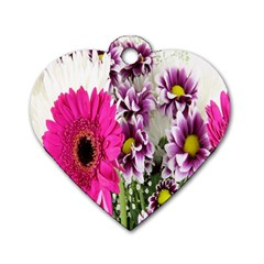 Purple White Flower Bouquet Dog Tag Heart (two Sides)