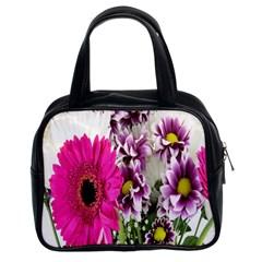 Purple White Flower Bouquet Classic Handbags (2 Sides)