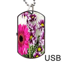 Purple White Flower Bouquet Dog Tag USB Flash (One Side)