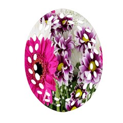 Purple White Flower Bouquet Oval Filigree Ornament (two Sides)