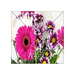 Purple White Flower Bouquet Acrylic Tangram Puzzle (4  X 4 )