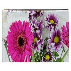Purple White Flower Bouquet Cosmetic Bag (XXXL)