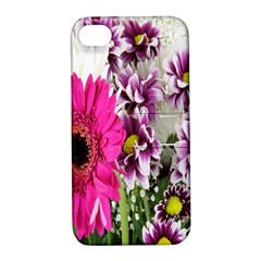 Purple White Flower Bouquet Apple Iphone 4/4s Hardshell Case With Stand