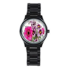 Purple White Flower Bouquet Stainless Steel Round Watch