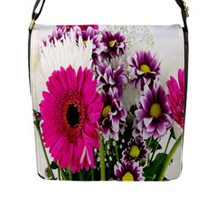 Purple White Flower Bouquet Flap Messenger Bag (L)
