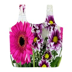 Purple White Flower Bouquet Full Print Recycle Bags (L)