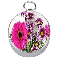 Purple White Flower Bouquet Silver Compasses