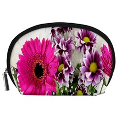 Purple White Flower Bouquet Accessory Pouches (Large)