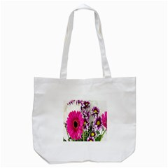Purple White Flower Bouquet Tote Bag (White)