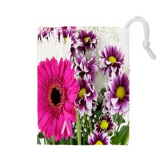 Purple White Flower Bouquet Drawstring Pouches (Large)