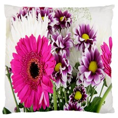 Purple White Flower Bouquet Large Flano Cushion Case (two Sides)