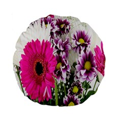 Purple White Flower Bouquet Standard 15  Premium Flano Round Cushions