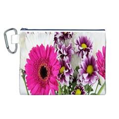 Purple White Flower Bouquet Canvas Cosmetic Bag (L)