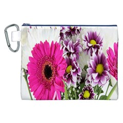 Purple White Flower Bouquet Canvas Cosmetic Bag (XXL)
