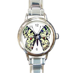 A Colorful Butterfly Image Round Italian Charm Watch