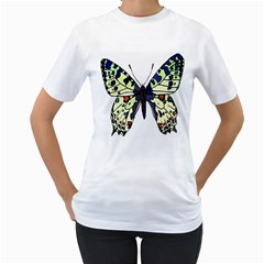 A Colorful Butterfly Image Women s T-Shirt (White) (Two Sided)